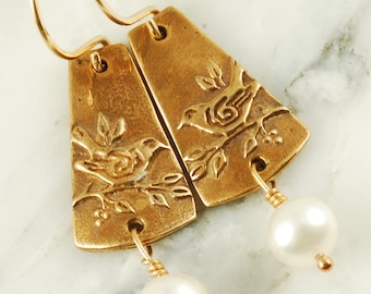 Sparrow Earrings - Bronze Bird Earrings with White Pearl Drops and Gold Fill Wires
