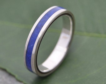 Size 10.75, 4mm READY TO SHIP Lados Lapiz Azul - Recycled Sterling Silver and Lapiz Lazuli Stone and Wood Ring, blue stone wedding ring,