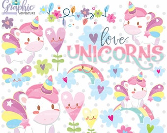 Unicorn Clipart, Unicorn Graphics, COMMERCIAL USE, Kawaii Clipart, Clip Art, Planner Accessories, Rainbow Clipart, Rainbow Graphic