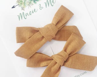 Mustard Yellow Pigtail Bows / Girls Hair Bows / Alligator Clip / No Slip Grip / Macie and Me / Pigtail Bows / Hand Tied