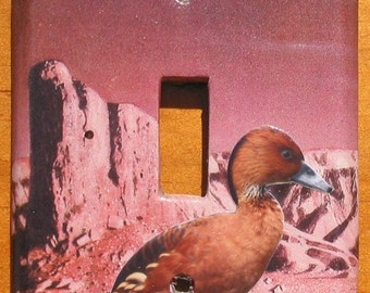 Birds on Mars - Recycled Single Light Switch Plate Cover, Whistling Duck, Hummbingbird, Space, Planet, Celestial, Pink, Brown, Collage, OOAK