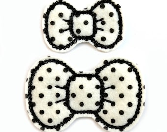 Black Polka Dot Bitty Bows - 100% Wool Felt Hair Clips for Babies, Toddlers, Girls, & Women - Embroidered Hair Bows, Black and White Bows