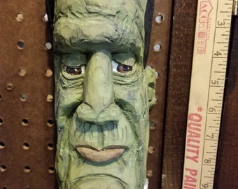 """Cottonwood Bark """" Frankenstein""""  Hand carved,Painted and Signed. Approx. 12 X 4 ins."""