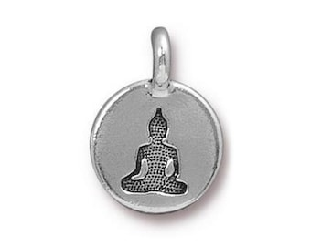 3 TierraCast Buddha 5/8 inch ( 16 mm ) Silver Plated Pewter Charms