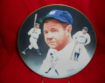 "NY Yankee Babe Ruth 8 1/2"" Hackett American Plate With Stand ""Very Nice Gift Idea"""