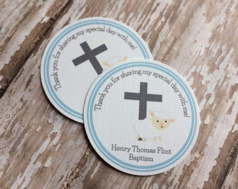 Personalized Blue Baptism First COMMUNION CHRISTENING Favor Tags