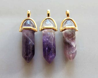 5pcs Polished Natural Amethyst Double Terminated Point With Golden Bail Pendant - B561