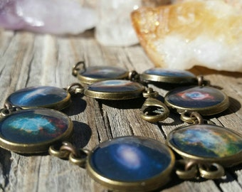 Galaxy and Nebula Bracelet in Antique Bronze