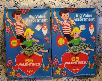 Two Boxes Vintage Valentines 1966