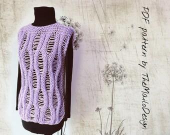 Knitting Pattern / Knit Sweater pattern/ Knit Vest Pattern / Cardigan Pattern / Drop Stitch Sweater Pattern /  PDF pattern