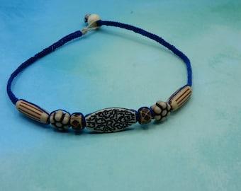 Macrame Hemp Necklace Acrylic Beads  Blue and Brown