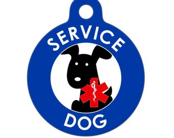 Pet ID Tag - Service Dog -  Medical ID Tag - Medical Alert Tag, Pet Tag, Child ID Tag, Dog Tag, Cat Tag