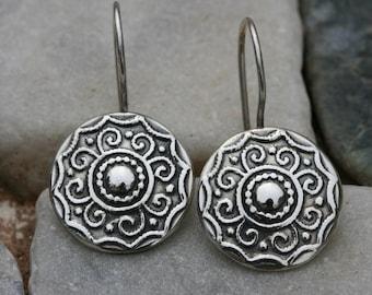 Silver Earring,Sterling Earrings,  Handmade 925 Silver Earrings, Israeli Designer,Everyday Wear Earrings, Silver Flower Earrings,