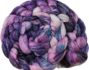 Butterfly bush - hand-dyed Merino wool / bamboo / silk (4 oz.) combed top roving
