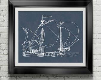 Nautical Artwork Nautical Bathroom Nautical Decor Sailing Art Sailing Wall Art Sailing Decor Pirate Galley Pirate Ship Pirate Boat PP 8924