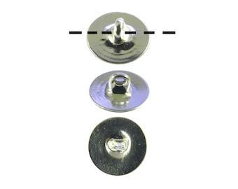 12 - 1 Dozen Silver Plated 10mm Glueable Button Backs Shanks.  DIY Make a button out of almost anything