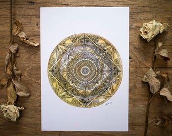 mandala print   yellow   illustration   watercolour   ink   design   pattern