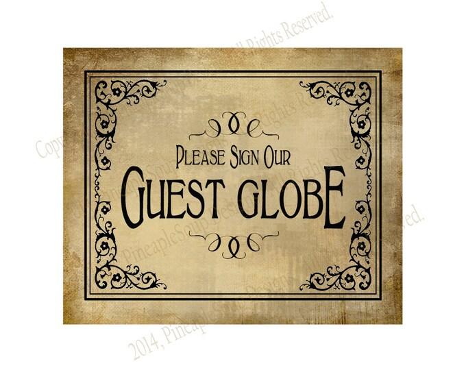 PRINTABLE Please sign our GUEST GLOBE Wedding sign - Diy instant download - Vintage Black Tie design