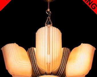 Antique Art Deco Salmon Frosted Glass 6 Light 5 Slip Shade Machine Age Chandelier Lamp Pendant Ceiling Fixture c1940s