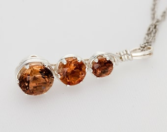 Handmade Sunstone Sterling Silver Wire Wrapped Pendant 6ct (S2202P)