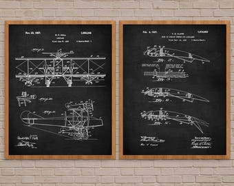 Aviation Art  Set of 2, Vintage Airplane, biplane, vintage biplane, vintage plane, airplane decor, airplane nursery, airplane decor