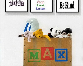 School Daze wall art prints, for child's room or nursery printable, set of three