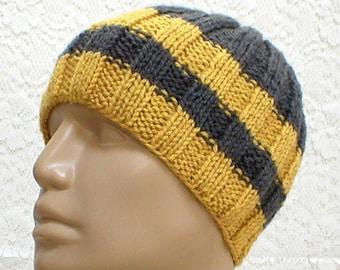 Charcoal gray mustard yellow beanie hat, skull cap, striped hat, gray yellow hat, toque, mens womens knit hat, biker hiking hat, chemo cap