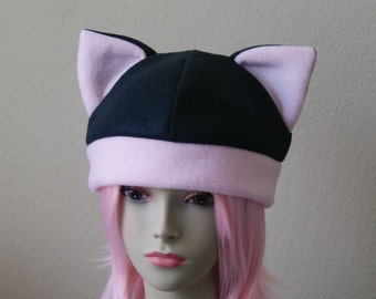 Fleece Cat Hat / BLACK + PASTEL PINK Beanie Style Cap Cute Anime Neko Cosplay Cat Ears Kitty Ears Kawaii Japanese Fashion