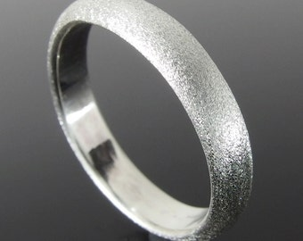 Half Round Sterling Silver Band Ring, Silver Wedding Band, Silver Wedding Ring, Sterling Silver Ring, 4 x 2 mm, Heavily Brushed Finish