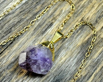Memorial Day Sale - Raw Amethyst Necklace, Amethyst Pendant, Amethyst Crystal, Gold Amethyst, Amethyst Necklace, Amethyst Jewelry, Amethyst
