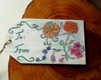 Woodburned gift tag, Spring Flowers, pyrography keepsake for a wedding,new baby or Mother's Day gift, blues, greens, oranges, pinks and reds