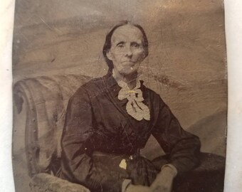 Tintype Photograph of an Elderly Woman Seated, Antique from the 1800s, #TT09