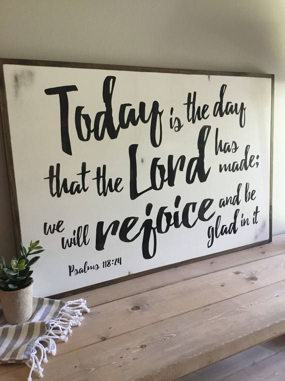 BE GLAD {2'X3'} scripture sign | distressed shabby chic painted wooden sign | Psalms 118:24 | painted farmhouse wall art