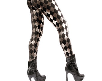 YOUR SIZE, Leggings, Harlequin, New Wave, Pants, Black, Silver, Stretch, Rock Star, Dance, Metal, Goth, Punk, Glam, Dark Fusion Boutique