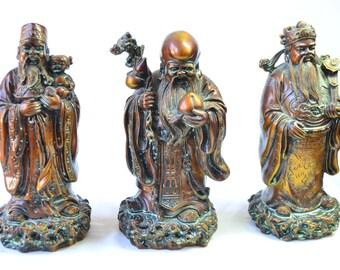 Vintage Chinese 3 Immortal Gods Longevity Wealth Happiness Fu Shou Lu Feng Shiu Bronze Tone Resin Hand Carved Statue