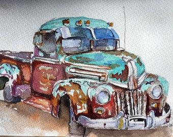 Rusty Watercolor Art Print by Maure Bausch