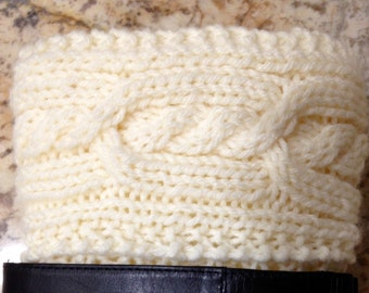 Beautiful Hand Knit Double Cable Boot Cuffs Boot Toppers (BC-02)