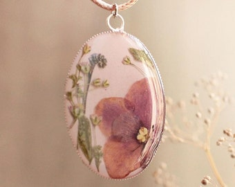 Pendant with Violet and Herbs