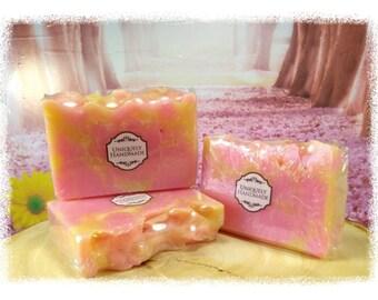 Raspberry Lemonade cold process coconut oil soap 4.5oz