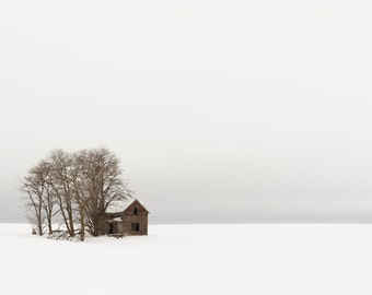Winter Cabin, Black and White Photography, Landscape, Minimalist, Wall Art, Modern Art, Abstract Art