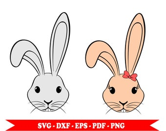 Bunny svg, Bunny Head, Rabbit svg, clip art svg format, EPS, DXF, PDF, PNG. For cameo Silhouette, Cricut, embroidery, vinyl