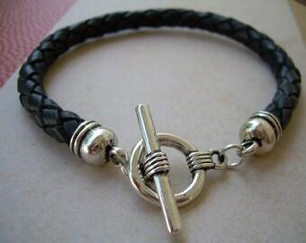 Mens Black Braided Leather Bracelet, Mens Jewelry, Mens Bracelet, Mens Gift, Boyfriend Gift, Groomsmen Gift, Leather Jewelry, Jewelry, Mens