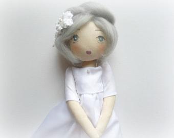 rag doll fabric white satin Princess snow white