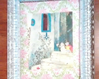 Fairytale Mouse Wedding OOAK Mixed Media Wall Hang Textured Textile Fiber Art