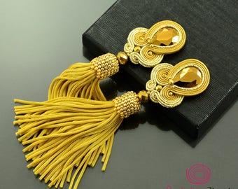 Gold tassel earrings, gold fringe earrings, gold crystal soutache earrings, gold extravagant earrings, long old gold boho earrings, unique