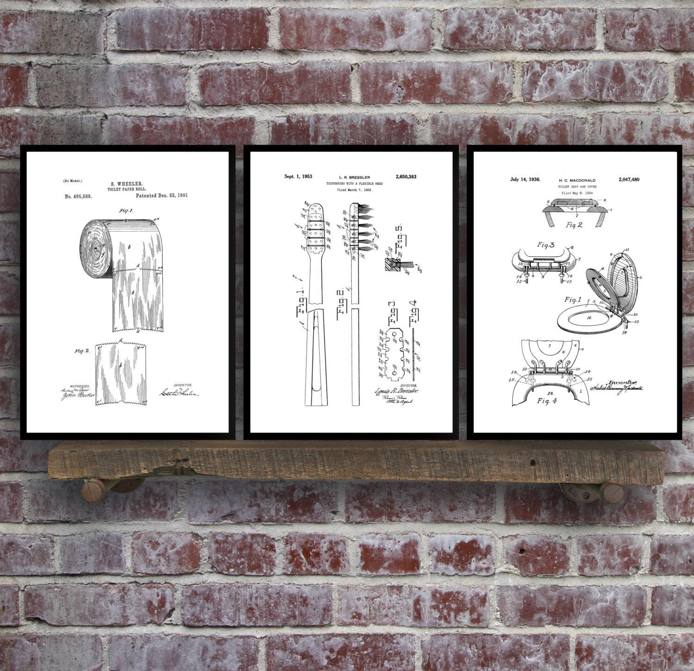 Bathroom poster bathroom art bathroom decor bathroom art toilet bathroom poster bathroom art bathroom decor bathroom art toilet paper toilet seat tooth brush bathroom wall art bathroom 3 set malvernweather Image collections