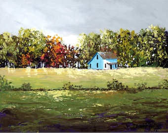 Farmhouse Acrylic Painting landscape painting PRINT Country rural rustic  tree fall trees  GICLEE reproduction  many SIZES