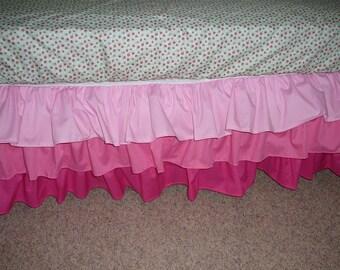 Multi Colored 3 Tier Crib Skirt