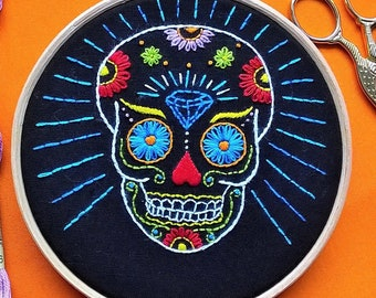 "Embroidery KIT -  hand embroidery kit -  embroidery hoop art - ""mexican Skull"" - modern embroidery - needlepoint kits - DIY embroidery"