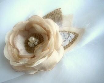 Rustic Hair Accessories - Burlap Wedding Hair Piece - Flower Girl Hair - Champagne Hair Clip - Rustic Wedding Hairpiece - Burlap Wedding